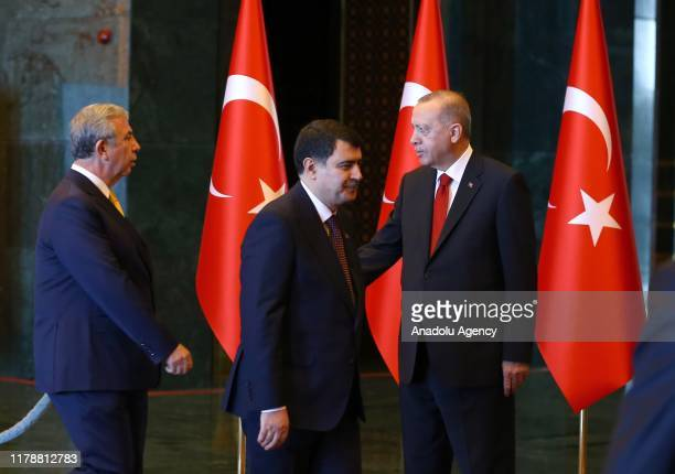 President of Turkey, Recep Tayyip Erdogan accepts the greetings from Ankara Governor Vasip Sahin and Ankara Mayor Mansur Yavas at the Presidential...
