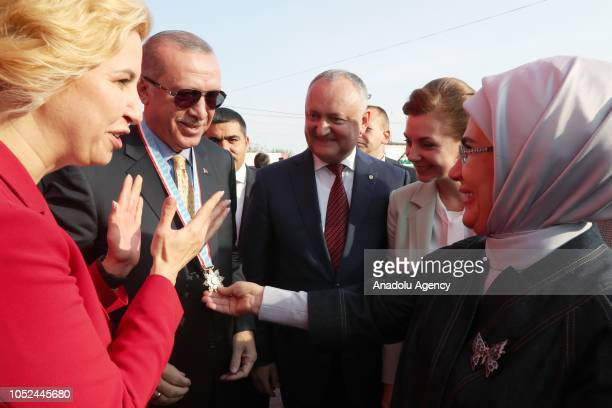 President of Turkey Recep Tayyip Erdogan accompanied by his wife Emine Erdogan Moldovan President Igor Dodon and Igor Dodon's wife Galina Dodon is...