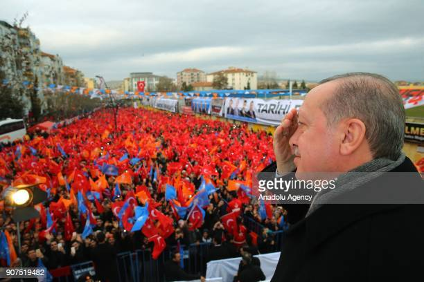 President of Turkey Recep Tayyip Erdogan addresses citizens during the citizens during the 6th provincial congress meeting of ruling Justice and...
