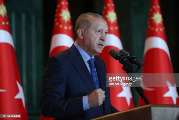 President of Turkey Recep Tayyip Erdogan addresses during a luncheon for participants of 10th Ambassadors' Conference at Presidential Complex in...