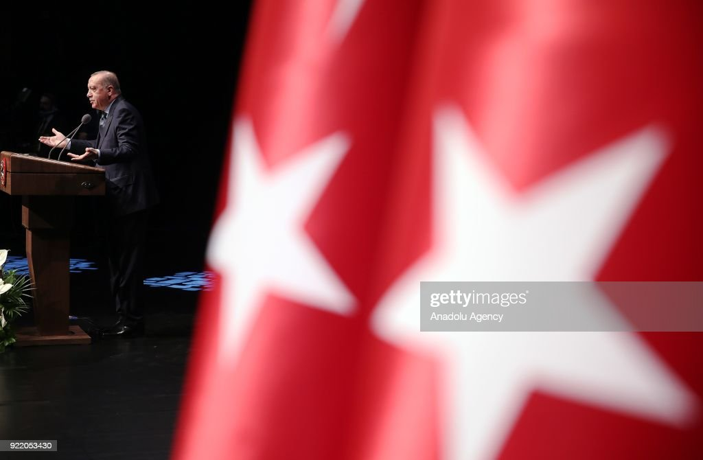 President of Turkey Recep Tayyip Erdogan addresses during Publicity Meeting of the 11th Development Plan at the Bestepe National Congress and Culture Center in Ankara, Turkey on February 21, 2018.