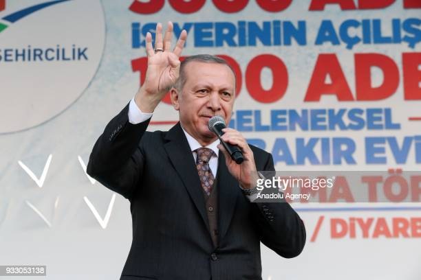 President of Turkey Recep Tayyip Erdogan addresses during the opening ceremony of 3000 renovated and reopened businesses and groundbreaking ceremony...