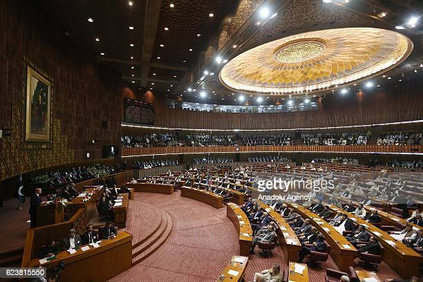President of Turkey Recep Tayyip Erdogan addresses to the MPs and senators during a joint session of Pakistan's National Assembly and Senate in...
