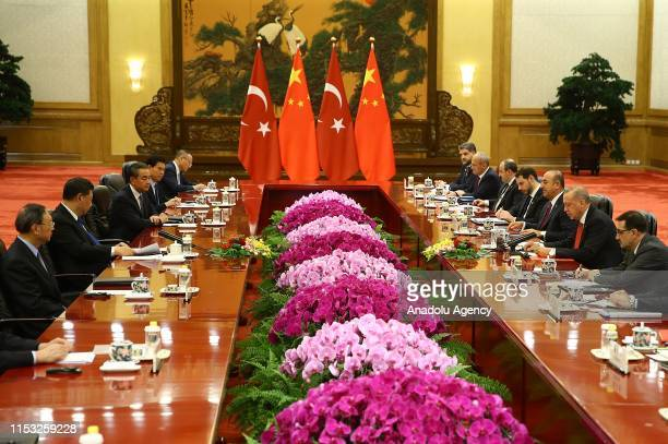 President of Turkey, Recep Tayyip Erdogan and Chinese President Xi Jinping hold an inter-delegation meeting in Beijing, China on July 02, 2019....