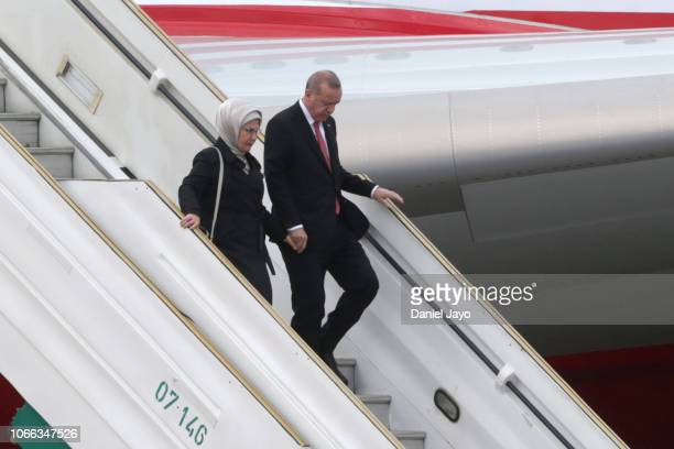President of Turkey Recep Tayyip Erdogan and First Lady of Turkey Emine Erdogan get off a plane on their arrival to Buenos Aires for G20 Leaders'...