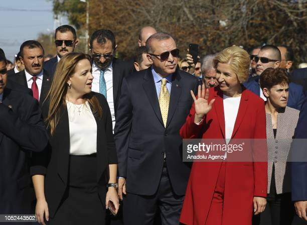 President of Turkey Recep Tayyip Erdogan and Governor of the Autonomous Territorial Unit of Gagauzia Irina Vlah attend the opening ceremony of a...