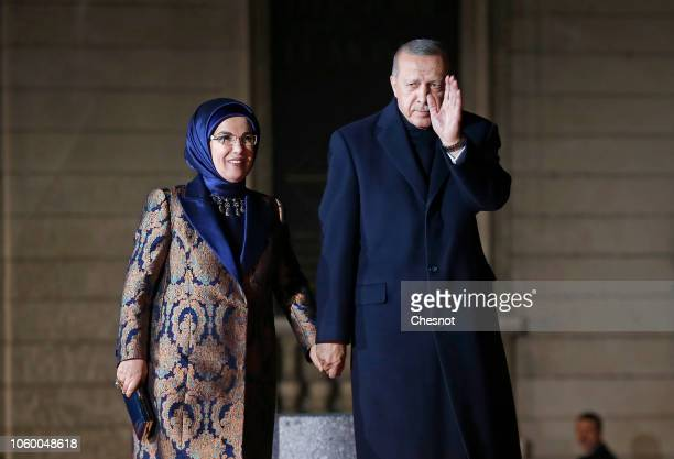 President of Turkey Recep Tayyip Erdogan and his wife Emine Erdogan arrive to attend a dinner hosted by French President Emmanuel Macron at the Orsay...