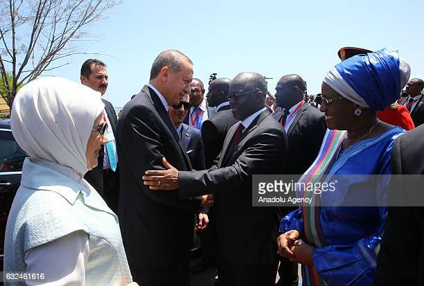 President of Turkey Recep Tayyip Erdogan and his wife Emine Erdogan are welcomed President of Tanzania John Pombe Joseph Magufuli and his wife during...