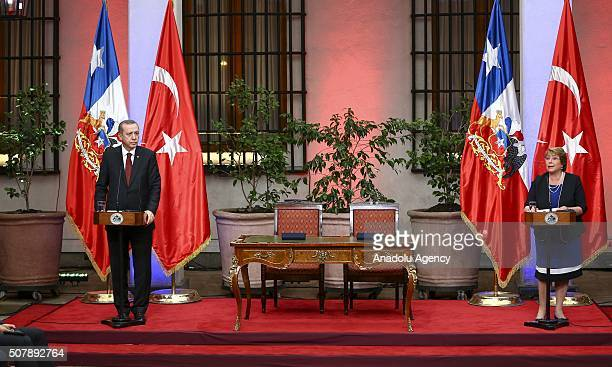 President of Turkey Recep Tayyip Erdogan and President of Chile Michelle Bachelet hold a press conference after signing bilateral agreements at La...