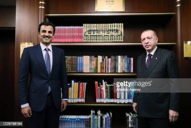 President of Turkey, Recep Tayyip Erdogan and Qatari Emir Sheikh Tamim bin Hamad al-Thani visit Presidential Library in Ankara, Turkey on November...