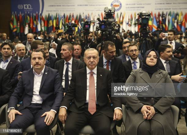 President of Turkey Recep Tayyip Erdogan and Turkish Minister of Labor, Social Services and Family Zehra Zumrut Selcuk attend an international...