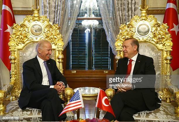 President of Turkey Recep Tayyip Erdogan and Vice President of the United States Joe Biden meet at historical Mabeyn Palace in Yildiz Palace Complex...