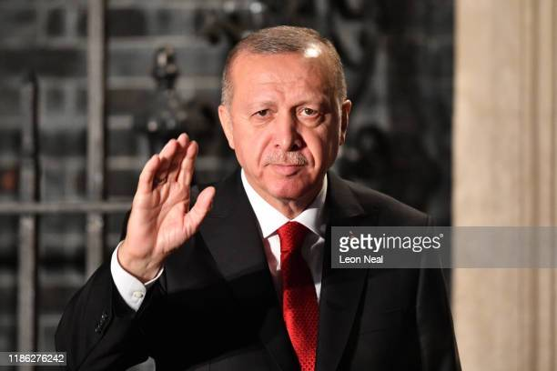 President of Turkey, Recep Tayyip Erdogan arrives at number 10 Downing Street for a reception on December 3, 2019 in London, England. France and the...