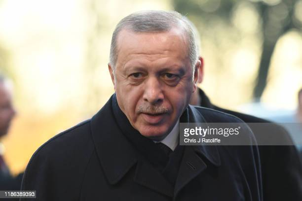 President of Turkey, Recep Tayyip Erdogan arrives for the NATO summit at the Grove Hotel on December 4, 2019 in Watford, England. France and the UK...