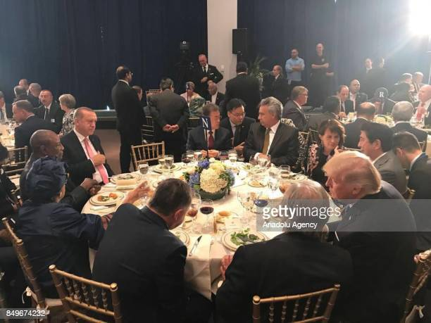 President of Turkey Recep Tayyip Erdogan attends a dinner hosted by United Nations Secretary General Antonio Guterres within the 72nd session of the...