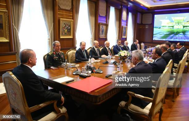 President of Turkey Recep Tayyip Erdogan attends Security Assessment Meeting with Turkish Prime Minister Binali Yildirim Turkish Interior Minister...