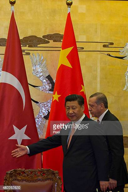 President of Turkey Recep Tayyip Erdogan attends talks with Chinese Premier Li Keqiang at the Great Hall of the People on July 29 2015 in Beijing...