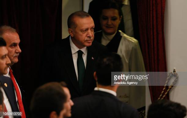 President of Turkey Recep Tayyip Erdogan attends the academic year opening ceremony at Dokuz Eylul University in Izmir Turkey on October 19 2018