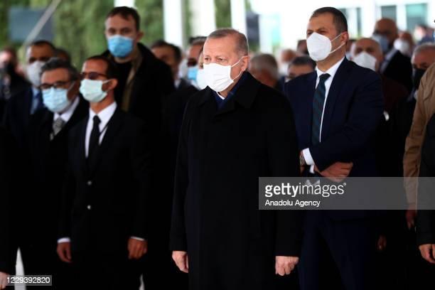 President of Turkey Recep Tayyip Erdogan attends the funeral ceremony of former Turkish Prime Minister Mesut Yilmaz, at Marmara University Faculty of...