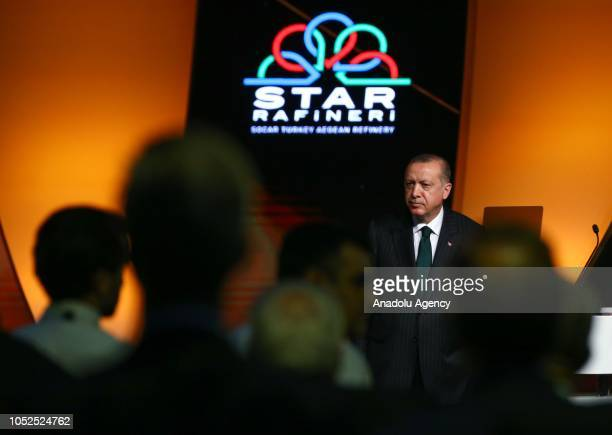 President of Turkey Recep Tayyip Erdogan attends the opening ceremony of the SOCARs STAR Refinery Project in Aliaga district of Izmir Turkey on...