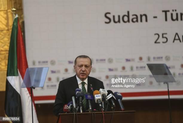 President of Turkey Recep Tayyip Erdogan attends the Sudan Turkey Business Forum in Khartoum Sudan on December 25 2017
