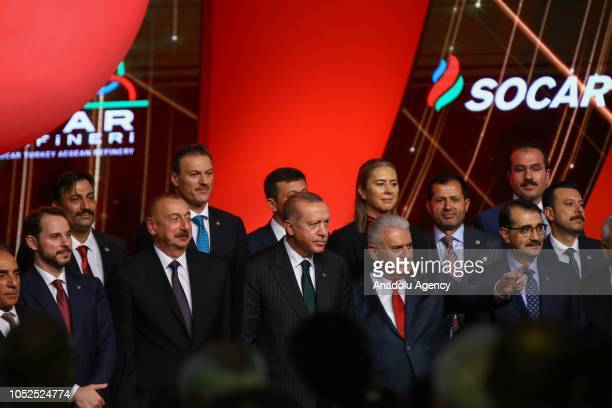 President of Turkey Recep Tayyip Erdogan Azerbaijani President Ilham Aliyev Turkish Grand National Assembly Speaker Binali Yildirim attend the...