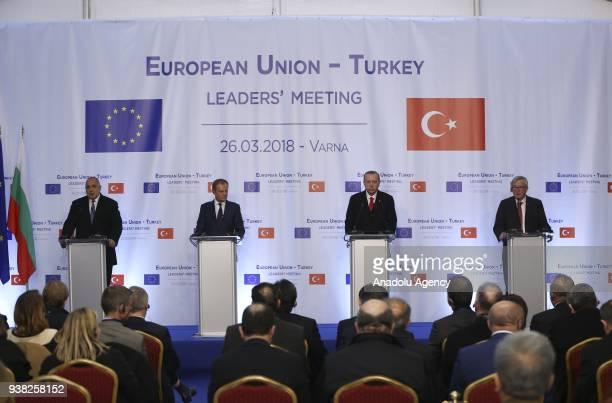 President of Turkey Recep Tayyip Erdogan Bulgarian Prime Minister Boyko Borisov European Council President Donald Tusk and European Commission...