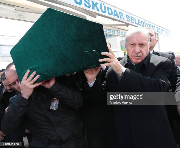 President of Turkey Recep Tayyip Erdogan carries the coffin during funeral ceremony of former Istanbul Chamber of Commerce president Atalay Sahinoglu...