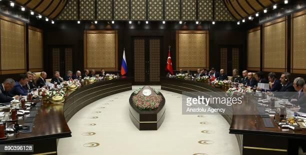 President of Turkey Recep Tayyip Erdogan chairs an interdelegation meeting with Russian President Vladimir Putin at Presidential Complex in Ankara...