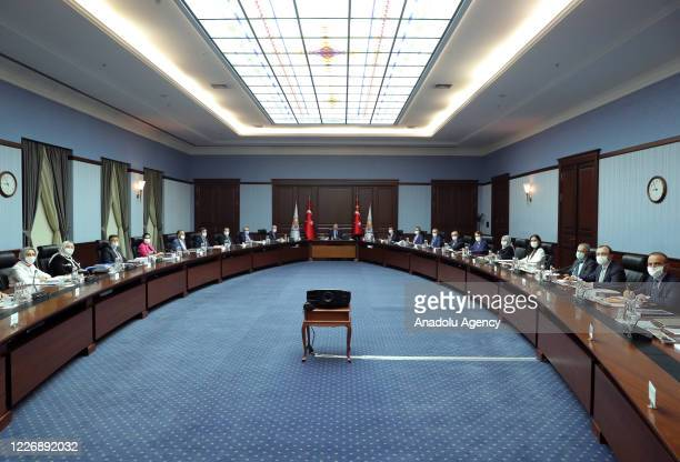 President of Turkey Recep Tayyip Erdogan chairs his ruling Justice and Development Party's Central Executive Board Meeting in Ankara, Turkey on July...