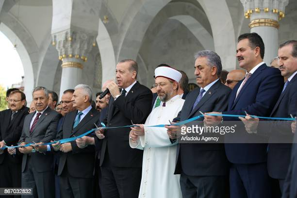 President of Turkey Recep Tayyip Erdogan delivers a speech as President of Turkey Recep Tayyip Erdogan Prime Minister of Turkey Binali Yildirim...