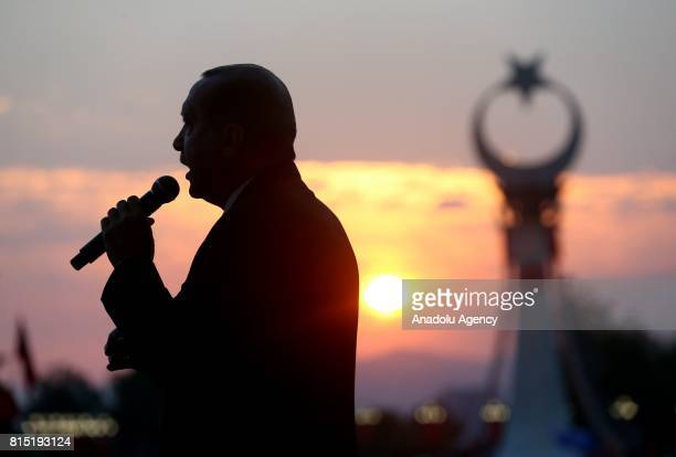 President of Turkey Recep Tayyip Erdogan delivers a speech during opening ceremony of the 'July 15 Martyrs Monument' at the Presidential Complex...