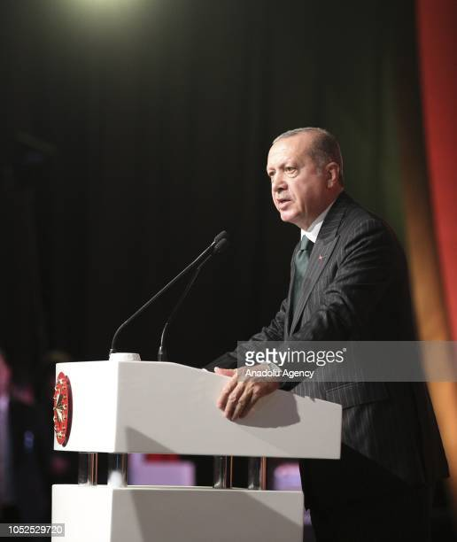 President of Turkey Recep Tayyip Erdogan delivers a speech during the opening ceremony of the SOCARs STAR Refinery Project in Aliaga district of...