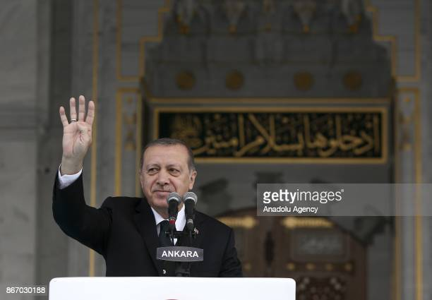 President of Turkey Recep Tayyip Erdogan delivers a speech during the opening ceremony of Melike Hatun Mosque in Ankara Turkey on October 27 2017