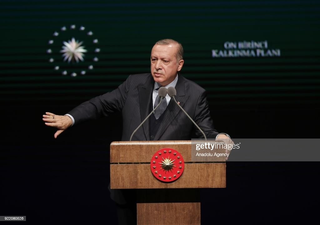 President of Turkey Recep Tayyip Erdogan gives a speech during Publicity Meeting of the 11th Development Plan at the Bestepe National Congress and Culture Center in Ankara, Turkey on February 21, 2018.