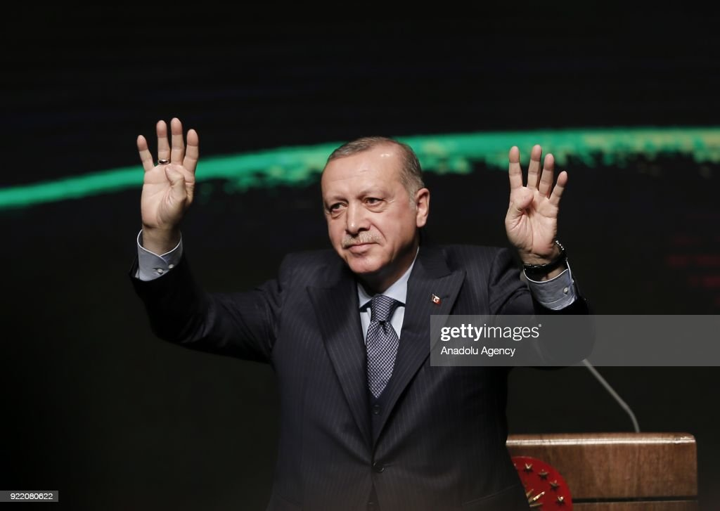 President of Turkey Recep Tayyip Erdogan greets crowd during Publicity Meeting of the 11th Development Plan at the Bestepe National Congress and Culture Center in Ankara, Turkey on February 21, 2018.