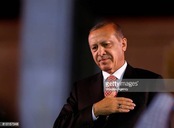 President of Turkey Recep Tayyip Erdogan greets people during July 15 Democracy and National Unity Day's event to mark July 15 defeated coup's 1st...