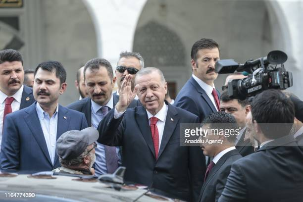 President of Turkey Recep Tayyip Erdogan greets the crowd after performing the Friday prayer at Melike Hatun Mosque in Ankara Turkey on August 30 2019
