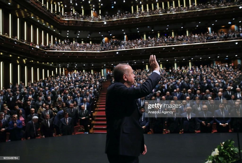 President of Turkey Recep Tayyip Erdogan greets the crowd during Publicity Meeting of the 11th Development Plan at the Bestepe National Congress and Culture Center in Ankara, Turkey on February 21, 2018.