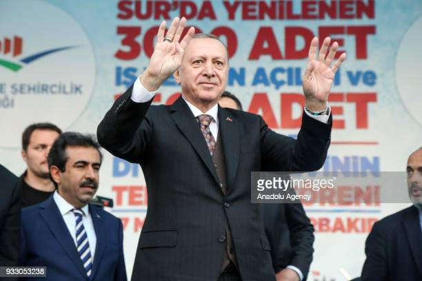 President of Turkey Recep Tayyip Erdogan greets the crowd during the opening ceremony of 3000 renovated and reopened businesses and groundbreaking...