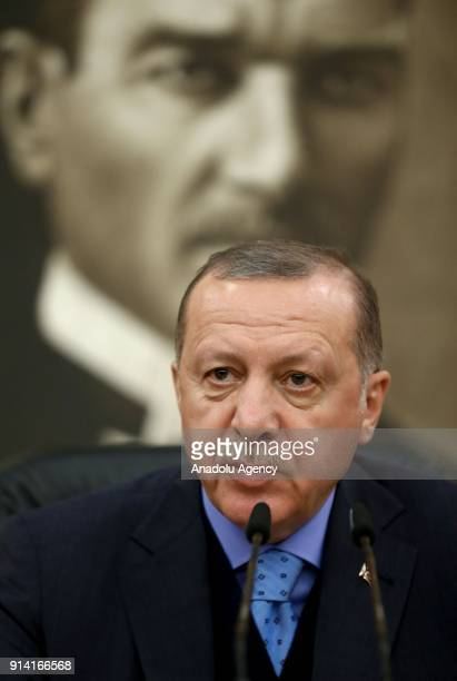 President of Turkey Recep Tayyip Erdogan holds a press conference ahead of his departure for Rome at the Ataturk International Airport in Istanbul...