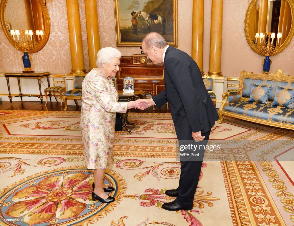 President of Turkey Recep Tayyip Erdogan is greeted by Queen Elizabeth II during a private audience at Buckingham Palace on May 15, 2018 in London, England.