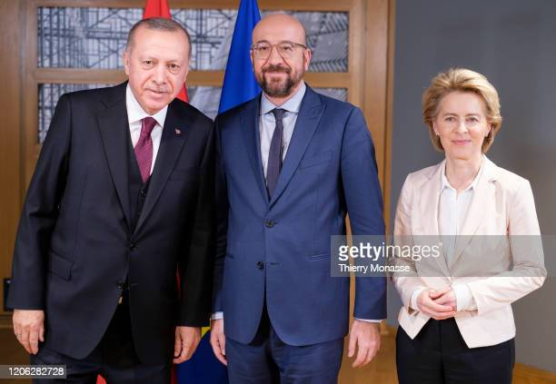 President of Turkey Recep Tayyip Erdogan is welcome by the President of the European Council Charles Michel and the President of the European...