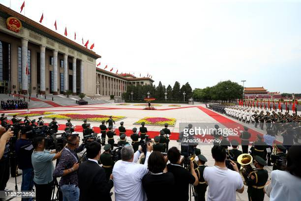 President of Turkey, Recep Tayyip Erdogan is welcomed by Chinese President Xi Jinping with an official ceremony at Great Hall of the People in...