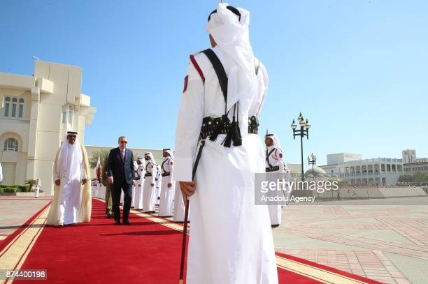 President of Turkey Recep Tayyip Erdogan is welcomed by Emir of Qatar Sheikh Tamim bin Hamad Al Thani with an official ceremony at in Doha Qatar on...