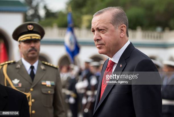 President of Turkey Recep Tayyip Erdogan is welcomed by Tunisian President Beji Caid Essebsi on a welcoming ceremony at Carthage Palace, during his...