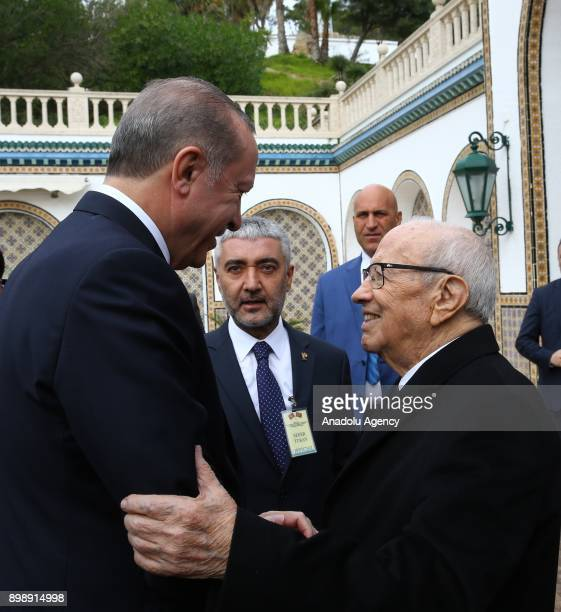President of Turkey Recep Tayyip Erdogan is welcomed by Tunisian President Beji Caid Essebsi with an official welcoming ceremony at Carthage Palace,...