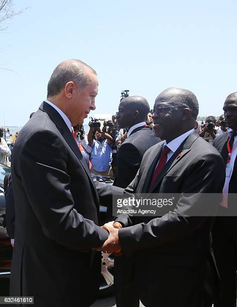 President of Turkey Recep Tayyip Erdogan is welcomed President of Tanzania John Pombe Joseph Magufuli during official welcoming ceremony in Dar es...