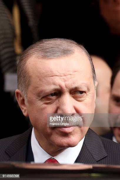 President of Turkey Recep Tayyip Erdogan leaves the Apostolic Palace after an audience with Pope Francis on February 5 2018 in Vatican City Vatican