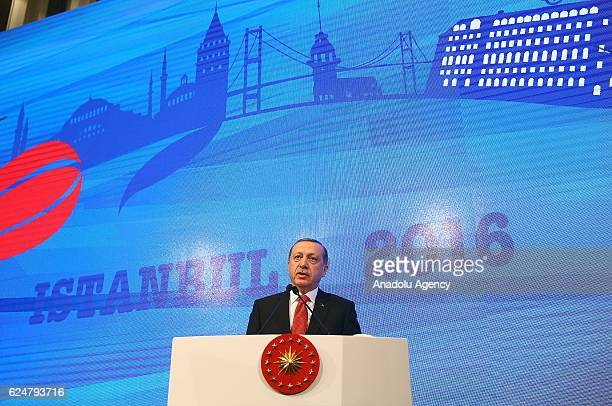 President of Turkey Recep Tayyip Erdogan makes a speech during a plenary sitting held within the NATO Parliamentary Assembly's 62nd Annual session in...